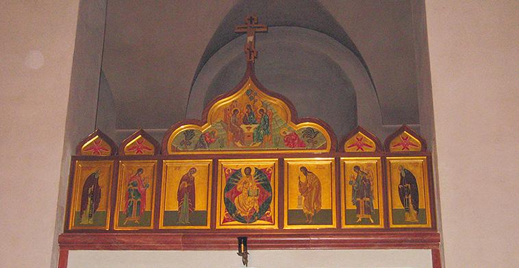 Ikonenreihe über Königlicher Tür mit Kokoschniki-Holzrahmungen mit vergoldeten Messingeinlagen