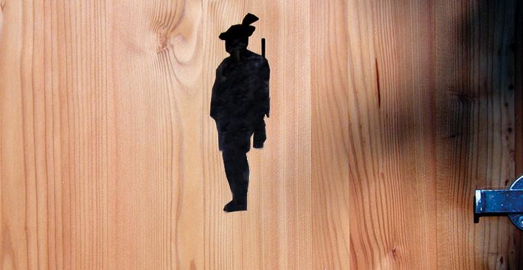 Ausgeschnittene Jägersilhouette
